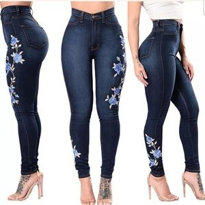Embroidered Floral High Waist Jeans